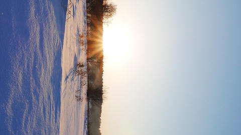 Vertical video. Winter sunset. Russia Footage