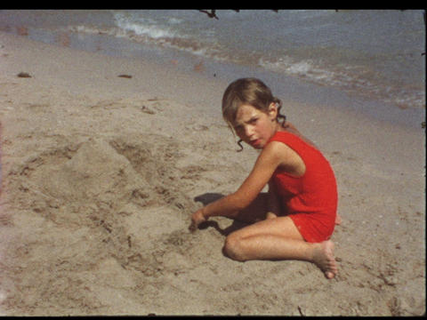 Girl at beach Footage