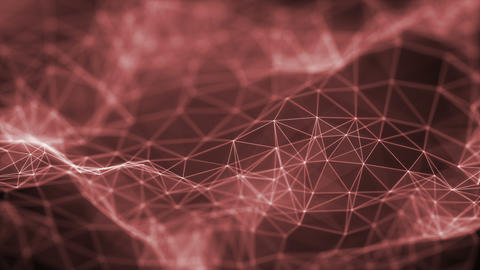 Plexus Surface Looped Red Background Animation
