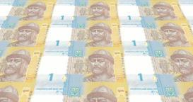 Banknotes of one Ukrainian hryvnia of Ukraine, cash money, loop Animation