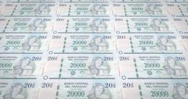 Banknotes of twenty thousand paraguayan guarani of Paraguay, cash money, loop Animation