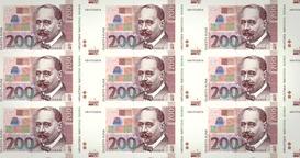Banknotes of two hundred croatian kunas of Croatia, cash money, loop Animation