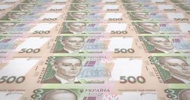 Banknotes of five thousand Ukrainian hryvnia of Ukraine, cash money, loop Animation