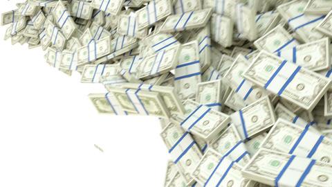US dollar bundles flow with slow motion. alpha Image