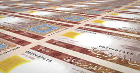 Banknotes of one hundred mauritanian ouguiya of Mauritania, cash money, loop Animation