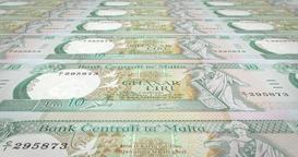 Banknotes of ten maltese liras or liri of Malta, cash money, loop Animation