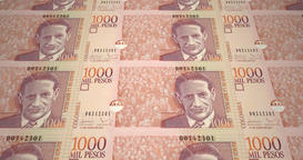 Banknotes of one thousand colombian pesos of Colombia, cash money, loop Animation