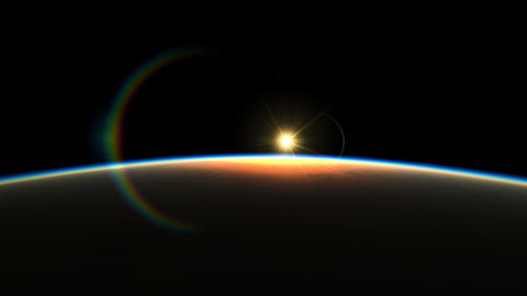 Amazing View Planet From Space Realistic 3d Animation of Rays of Light Rise Up Footage