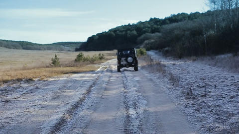 Extreme auto tourism. Steadicam shot. Driving old-fashioned off-road jeeps Footage