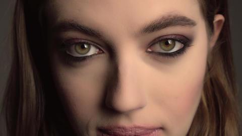 Beauty Brunette Woman with Perfect Makeup. Beautiful Professional Holiday Make ビデオ