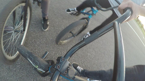 Point of view of biker preparing to ride on bicycle with other cyclists outdoor Footage