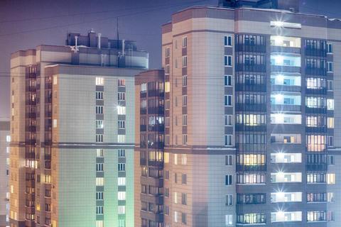 night light city windows . Night cityscape Photo