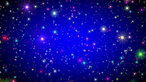 Blue Vignette Multicolored Stars Endless Flight Motion Background Loop roll Animation