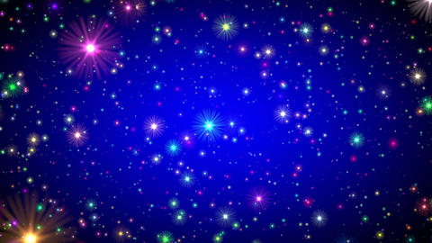 Blue Vignette Multicolored Stars Endless Flight Motion Background Loop Animation
