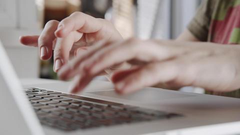 Businesswoman hands working on laptop computer Footage