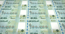 Banknotes of one hundred thousand lebanese pounds of Lebanon, cash money, loop Animation