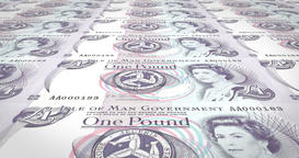 Banknotes of one manx pound of Isle of Man rolling, cash money, loop Animation