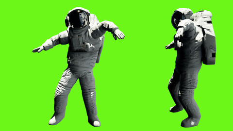 Astronaut dancing hip hop. Loopable animation on green screen. 4k