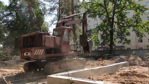 Crawler Excavator Digs Ground Footage