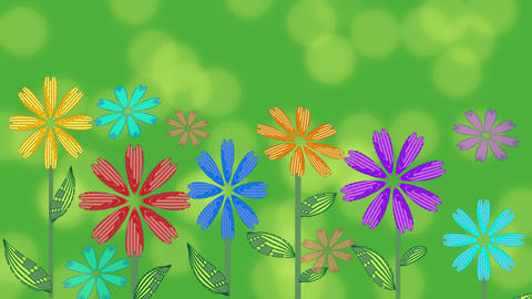 Vivid green background with growing flowers and blurry bokeh lights. Beautiful Animación