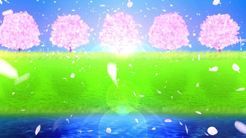 Full Bloom Of Cherry Blossom Near The Lake, CG Animation, Loop Animation