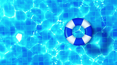 Swimming pool top view, CG animation, Pool float CG動画