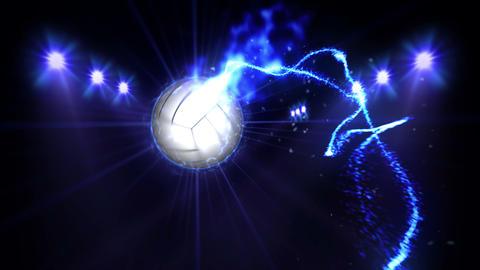 Volleyball, Illuminated bright blue color spotlights, In night scene Animation