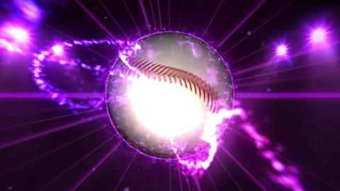 Baseball, Illuminated bright blue color spotlights, In night scene Animation