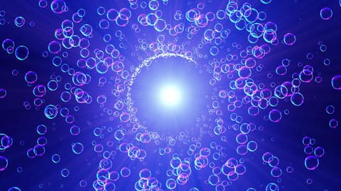 Rainbow bubbles on a blue background, Loop Animation