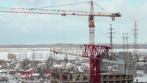 High Tower cranes skyline Footage