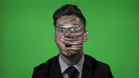 Corporate candidate with suit and tie on an IT job testing futuristic technology Footage