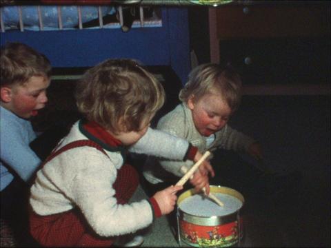 Toddler drumming Footage