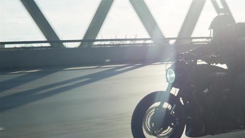Man Riding Motorcycle In Asphalt Road Footage