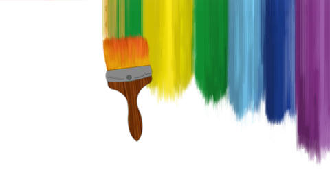 Colorful vertical stripes paint animation by a brush After Effects Template
