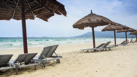 Reed Beach Umbrellas Chaise-longues on Sea Beach Footage