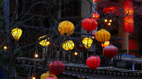 Colourful lanterns at a restaurant in evening at the Old town of Hoi An Footage