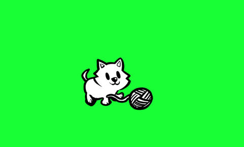 Kitten chasing ball of Wool Animation