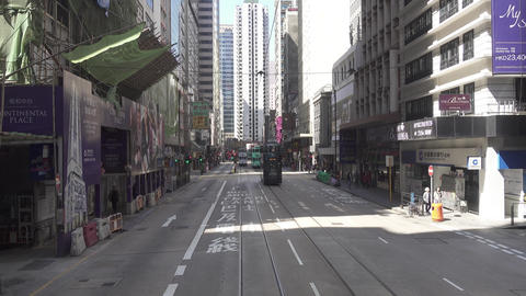 Hong Kong from double-decker tram Footage