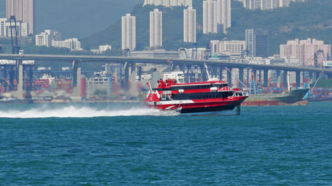 Hydrofoil ferry boat in the harbor of Hong Kong Footage