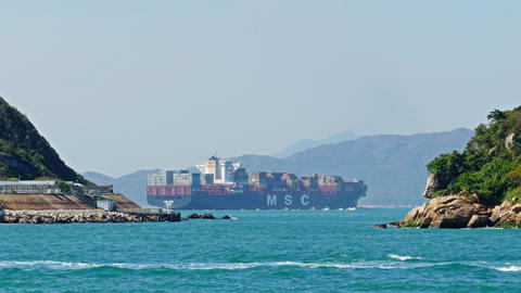 Large container ship in the harbor of Hong Kong Footage