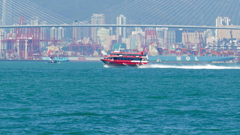 Hydrofoil Ferry Boat In The Harbor Of Hong Kong stock footage
