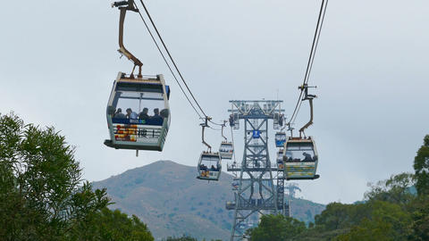 Cable cars of Ngong Ping 360 on Lantau island Footage