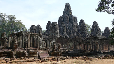 The Bayon Khmer temple at Angkor Wat Footage