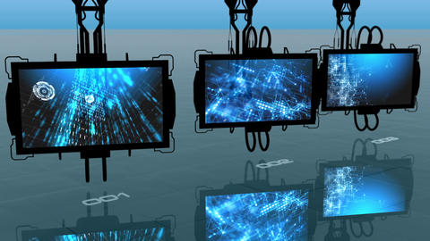 Three digital monitors turning slowly and displaying three abstract blue futuris Animation
