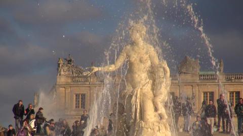 Fountain Of Versailles / Brunnen Im Park Von Versailles stock footage