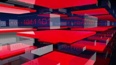 Animated 3D transpartent modules displaying changing red digital binary code Animation