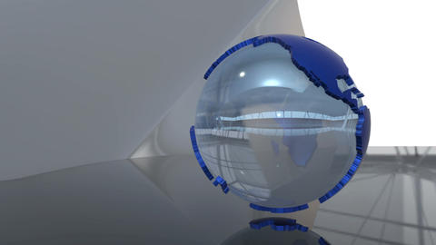 Advanced futuristic scene of a 3d spinning glass Earth globe with blue extruded  Animation