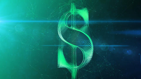 Sparkling Dollar Symbol in Whirling Cyberspace Animation