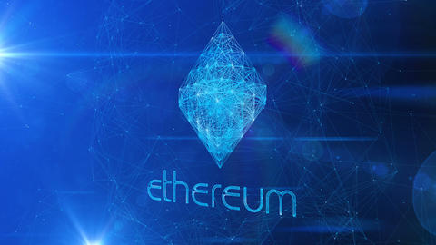 Shining ethereum Symbol in Spinning Cyberspace Animation