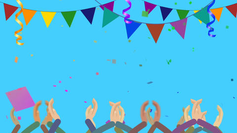 Cartoon Crowds Clapping in Party with Confetti Image